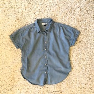 Light blue denim loose fitting button up shirt